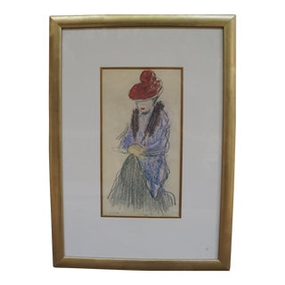 """Early 20th Century Antique Pablo Picasso """"Women With Fur Stole"""" Facsimile Print For Sale"""