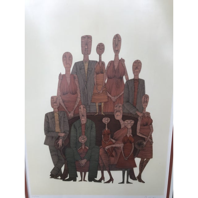 Auburn Vintage Mid-Century Abstract Family Portrait Print Block Print Lithograph Signed and Numbered For Sale - Image 8 of 10