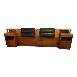 Torring Teak King Size Storage Headboard With Nightstands and Back Rests, Made in Denmark For Sale