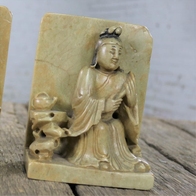 Antique Carved Soapstone Bookends With Chinese Figures and Teapot Detail For Sale - Image 9 of 13