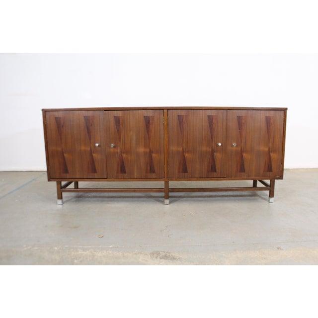 Mid-Century Modern Mid-Century Danish Modern 4-Door Parquet Walnut Credenza Sideboard For Sale - Image 3 of 13
