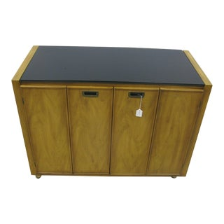 1970s Bernhardt Flair Division Oak Server With Black Glass Top For Sale