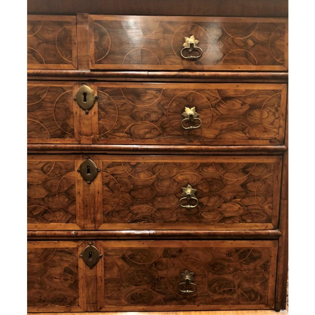 "Antique English Early 19th Century ""Oyster Veneer"" Walnut Chest, Circa 1820-1830."