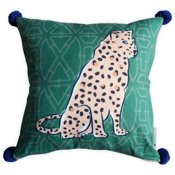 Who doesn't love everything leopard? This fun print by Clairebella is a poly/Linen and trimmed with large blue pom poms....