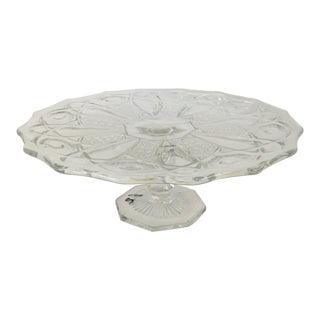 Vintage L E Smith Crystal Clear Cake Stand For Sale