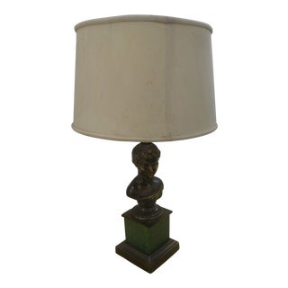 Mid Century Neoclassical Spelter Bust Table Lamp on Faux Marble Base For Sale