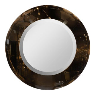 Modernist Smoked and Beveled Circular Mirror in the Manner of Karl Springe