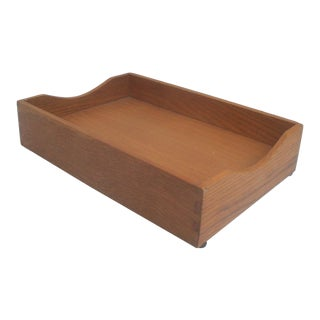 Office Desk Wood Letter and Mail Tray Basket For Sale