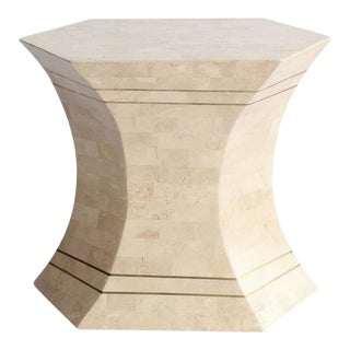 Maitland-Smith Modern Tessellated Stone & Brass Accent Table For Sale