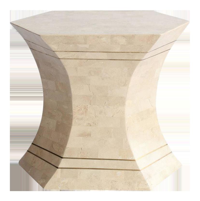Maitland Smith Modern Tessellated Stone U0026 Brass Accent Table