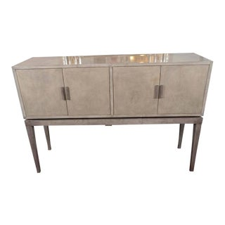 Custom Two-Toned Gray Stained Parchment Bar with Sycamore Interior For Sale