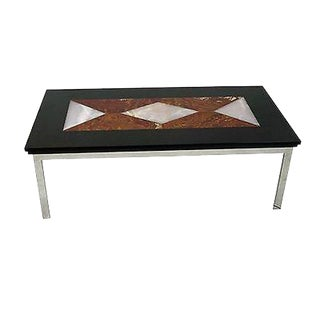 Mid Century Modern Chrome Base Coffee Table W/ Geometric Colored Marble Top For Sale