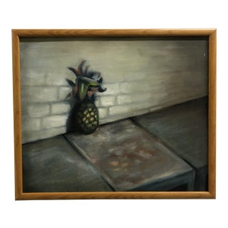 1990s Still Life Painting of a Pineapple in a Cityscape For Sale