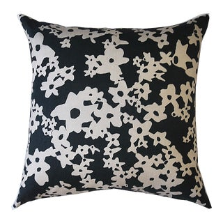 Deep Ditzy Floral Pillow by Kate Roebuck Studio For Sale