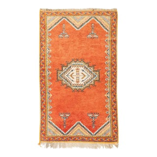 Vintage Moroccan Tribal Rug in Wool with Orange Background, 1950s For Sale