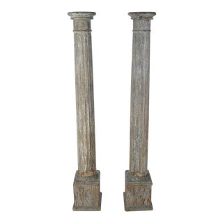 19th C. Original Colonial Carved Wood Pillars - 2