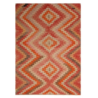 Vintage Mid-Century Afyon Geometric Multicolor Wool Kilim Rug- 6′3″ × 8′11″ For Sale