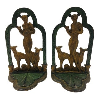 1920s Art Deco/Art Nouveau Cast Iron Bookends - a Pair For Sale