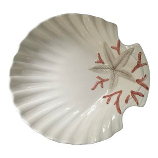 Fitz and Floyd Oceana Pink Coral Scalloped Shape Bowl With Starfish For Sale