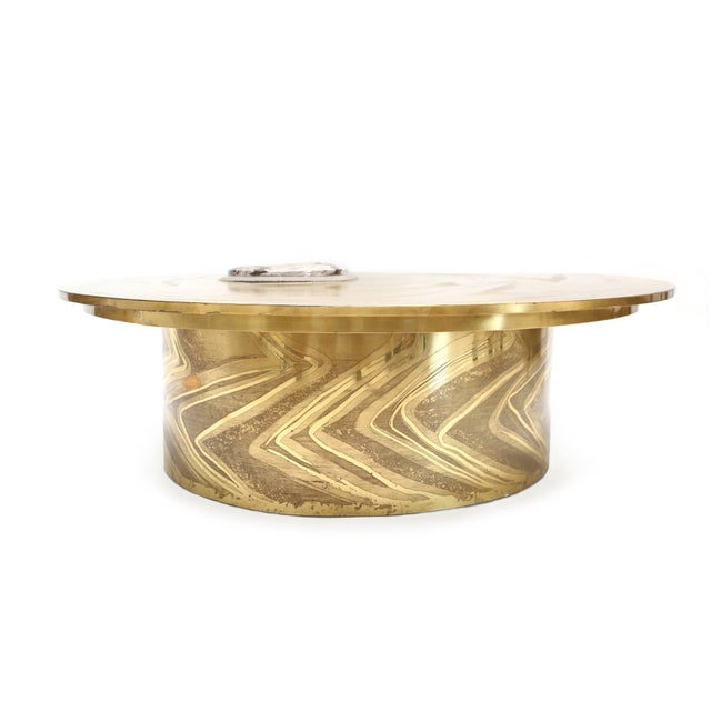 1970s Marc D'Haenens Brass Coffee Table with Inlaid Polished Ammonite For Sale - Image 5 of 10