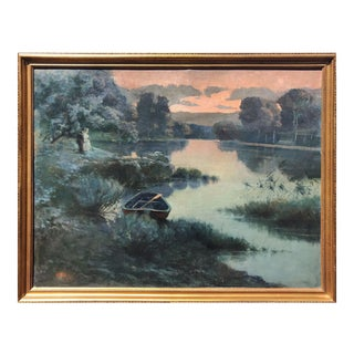 Vintage Sunset Landscape Painting Oil on Canvas Early 20th C For Sale