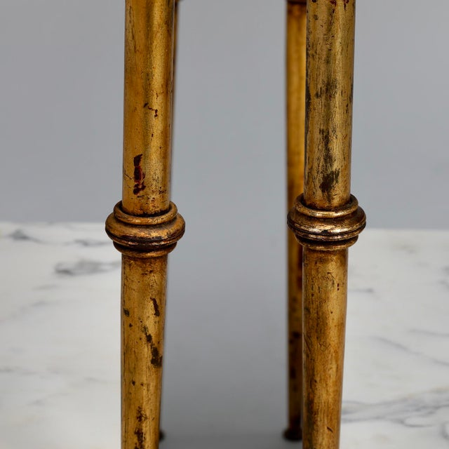 Pair of Spanish Gilt Metal and White Marble Side Tables - Image 3 of 11
