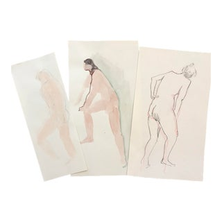 1980s Watercolors of Nudes - Set of 3