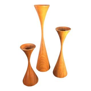 Vintage Rude Osolnik Original Mid Century Modern Turned Walnut Candle Holders - Set of 3 For Sale