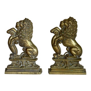 1920s Brass Lion Chenets - a Pair For Sale
