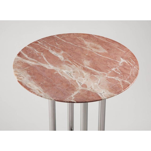 1970s Rose Marble and Chrome Side Table by Jay Spectre For Sale - Image 5 of 6