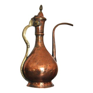 Persian Indian Mughal Tinned Copper Ewer Washing Pitcher 19th Century For Sale