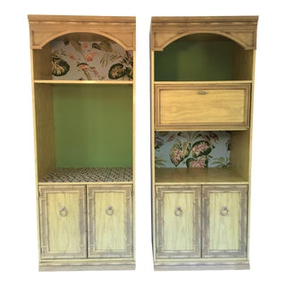 1970s Chinoiserie Faux Bamboo Etagere Entertainment Cabinets - a Pair For Sale