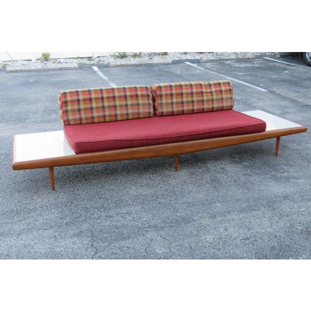 Craft Associates Mid Century Modern Adrian Pearsall Sofa XL Travertine Marble End Tables For Sale - Image 4 of 13