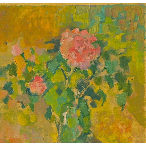 """""""Pink Carnations"""" is a contemporary print by artist Amy Griffith Colley. The piece depicts flowers in a table vase."""