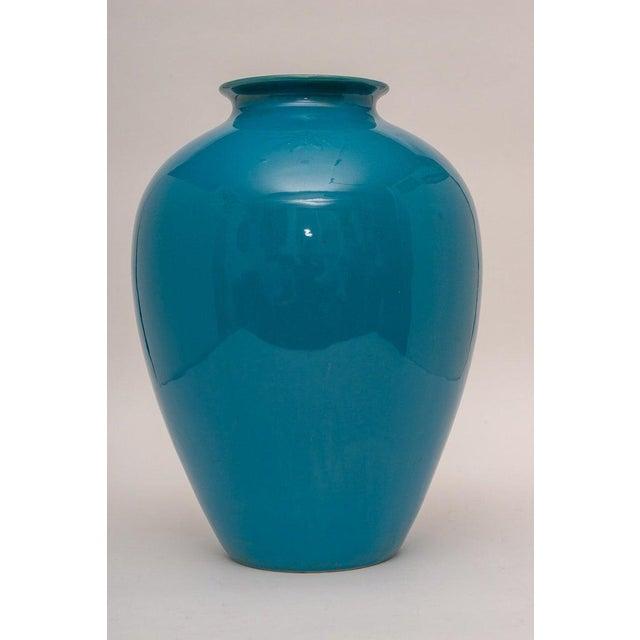 Italian Mid-20th Century Peking Blue Vase in Glazed Pottery, Italy For Sale - Image 3 of 6