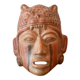 Ceramic Mayan Jaguar Priest Tribal Mask For Sale