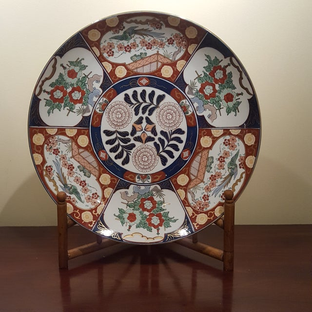 Blue Vintage Imari Porcelain Charger on Bamboo Stand For Sale - Image 8 of 8