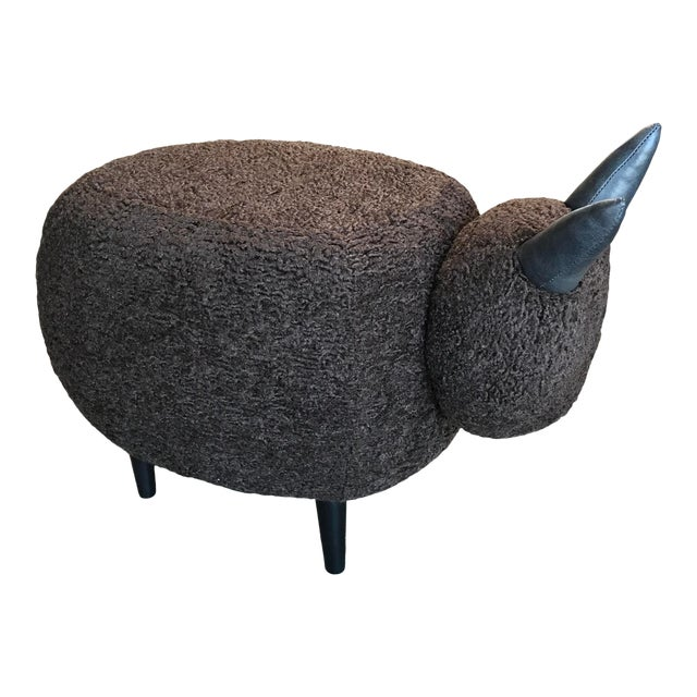 Carved Wood Dark Brown Sheep Ottoman For Sale