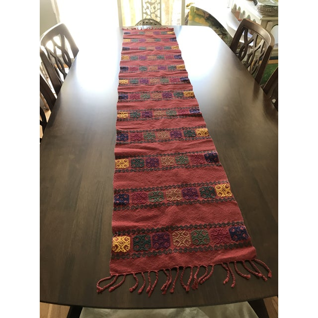 Blue Boho Embroidered Table Runner With Fringe For Sale - Image 8 of 8