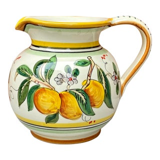 Italian Deruta Hand Painted Pottery Pitcher For Sale