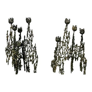 Mid Century Modern Brutalist Candle Holders Table Sculptures 60s - a Pair For Sale