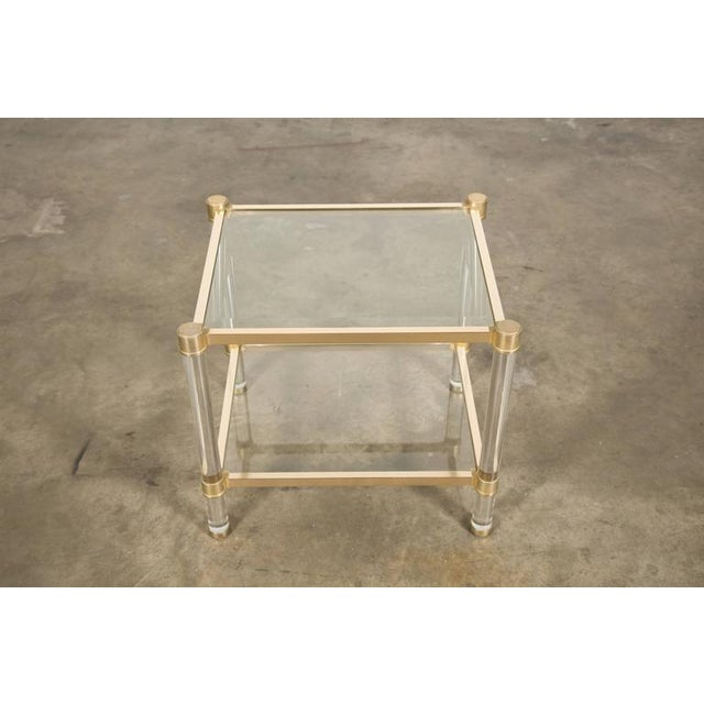 French Rectangular Lucite and Brass Two Tier Side Table For Sale - Image 9 of 12