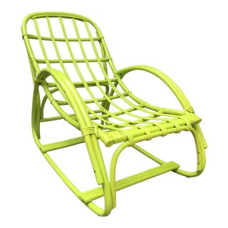 Vintage Ypsilanti Stick Kiwi Green Rattan Lounge Chair For Sale