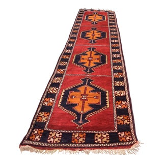 Antique Turkish Nomad Malatya Runner Rug- 3′5″ × 15′10″ For Sale