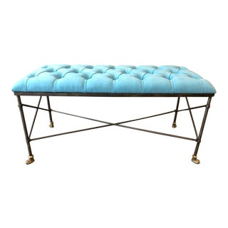 Wrought Iron and Brass Tufted Bench For Sale