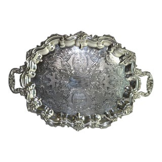 Large Oval Footed Etched Silverplate Butlers Tray by Poole For Sale