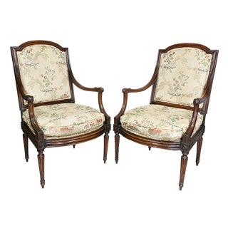 Italian Neoclassic Walnut Armchairs - a Pair For Sale