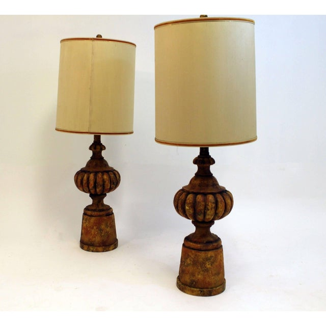 Mid-Century Modern Pair of Michael Taylor for Chapman Gesso Stone Table Lamps For Sale - Image 10 of 11