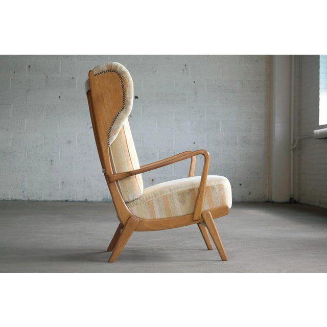 Danish Midcentury Wingback Lounge Chair With Exposed Sides For Sale - Image 11 of 13