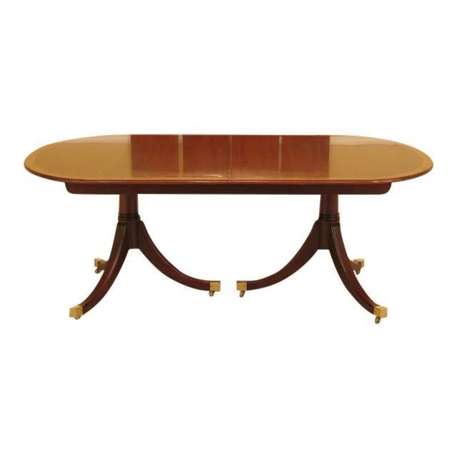 Kindel Banded Border Duncan Phyfe Mahogany Dining Table For Sale